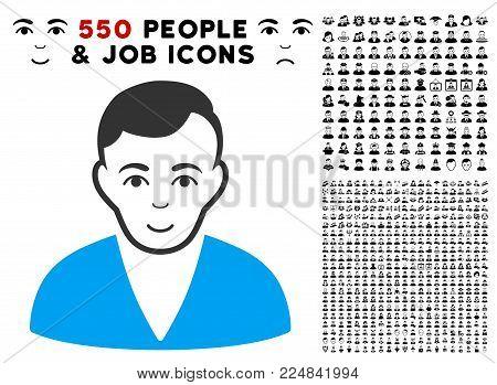 Happy Man vector icon with 550 bonus sad and glad people design elements. Person face has glad feeling. Bonus style is flat black iconic symbols.