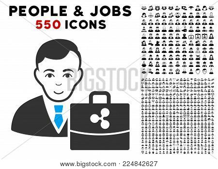 Smiling Ripple Accounter vector pictograph with 550 bonus pitiful and happy jobs pictographs. Person face has smiling sentiment. Bonus style is flat black iconic symbols.