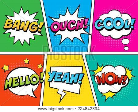 Retro comic speech bubbles set on colorful background. Expression text BANG, COOL, OUCH, HELLO, YEAH, WOW. Vector illustration, vintage design, pop art style.