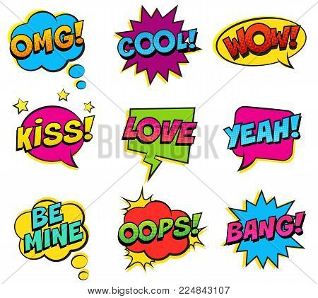 Retro colorful comic speech bubbles set on white background. Expression text BANG, OMG, LOVE, BE MINE, YEAH, OOPS, KISS, COOL, WOW. Vector illustration, pop art style.
