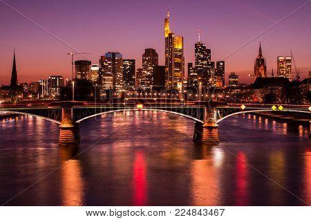 Frankfurt Am Main, Germany - April 19 2017: Frankfurt Am Main City Skyline At Blue Hour