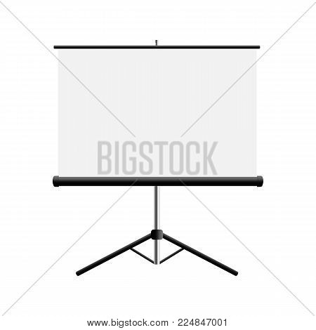 Projector stand screen mockup isolayed on white background. Vector illustration