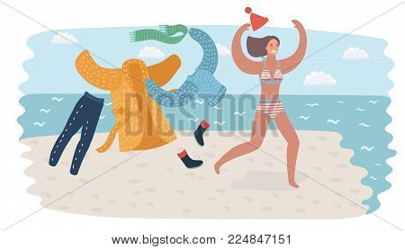 Vector cartoon funny illustration of young woman in swimsuit running in seawater going to swim and take off her warm clothes. Holiday or vacation concept. Beach coast. Sea, ocean