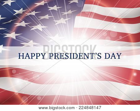 Happy president's day - poster with the flying flag of the USA  with glow. . Patriotic background with USA symbols
