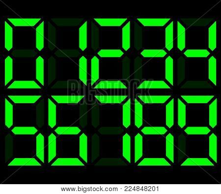 Green electronic digital numbers. Mockup for creating calculator, scoreboard, clock. Vector illustration