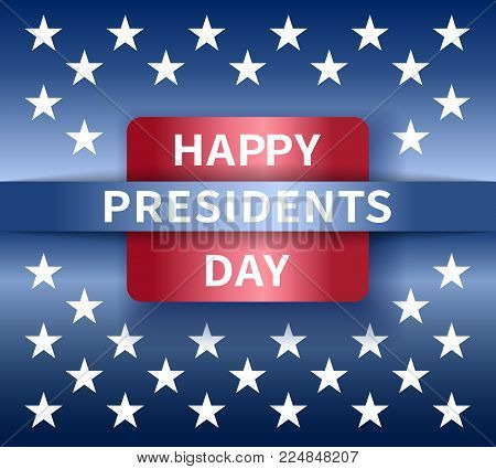 Happy Presidents Day banner with emblem and stars in national colors USA
