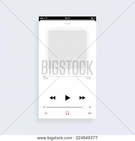 Mobile music player app concept redesign. Vector illustration