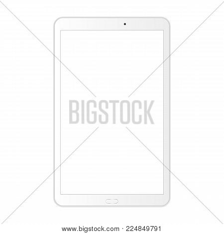 White tablet computer with blank screen isolated. Mockup for showcasing screenshots your web-site design. Vector illustration