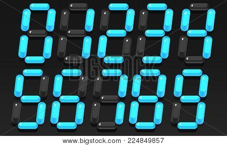 Electronic numbers. Volumetric blue numbers from 0 to 9. Three-dimensional numbers. Vector illustration