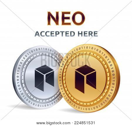 NEO. Accepted sign emblem. Crypto currency. Golden and silver coins with NEO symbol isolated on white background. 3D isometric Physical coins with text Accepted Here. Stock vector illustration