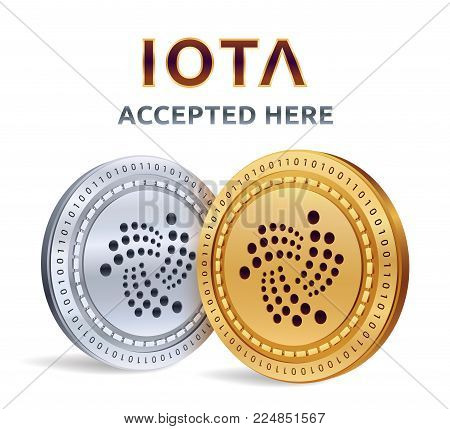 IOTA. Accepted sign emblem. Crypto currency. Golden and silver coins with IOTA symbol isolated on white background. 3D isometric Physical coins with text Accepted Here. Stock vector illustration