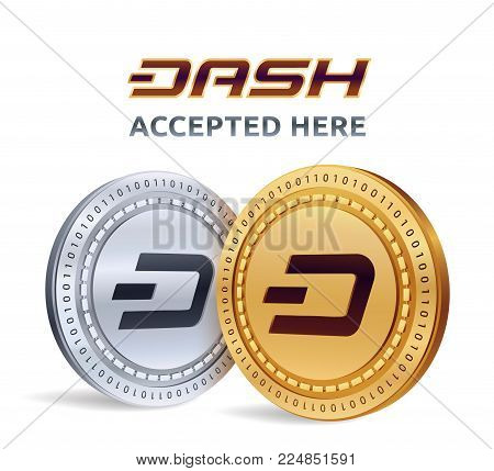 Dash. Accepted sign emblem. Crypto currency. Golden and silver coins with Dash symbol isolated on white background. 3D isometric Physical coins with text Accepted Here. Stock vector illustration