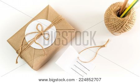 Gift Box Wrapped In Kraft Paper And Rustic Hemp As Natural Rustic Style