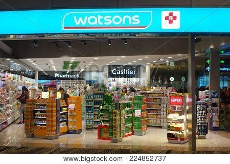 SINGAPORE-JAN 14, 2018: Watsons Personal Care Stores known simply as Watsons is the largest health care and beauty care chain store in Asia.