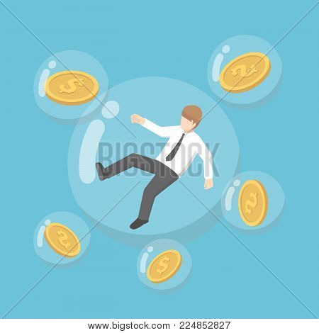 Flat 3d isometric businessman and dollar coin floating in bubbles. inflation concept.