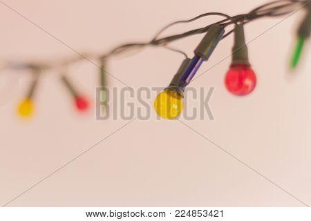 Christmas Lights, Closeup, Christmas Background With Lights, Christmas Lights Border, Glowing Colorf