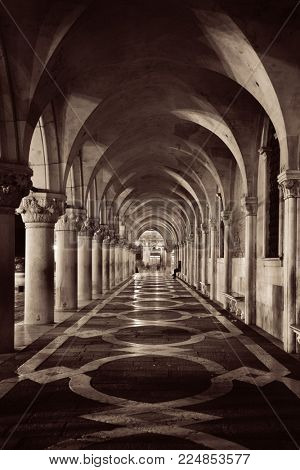 Hallway at Doge's Palace in St Mark's Square, Venice, Italy.
