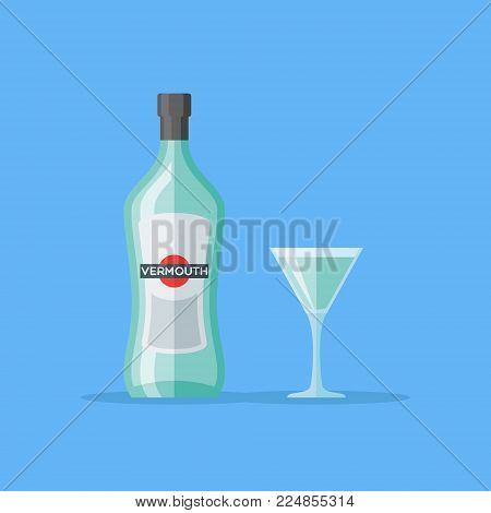 Bottle and glass of vermouth isolated on blue background. Flat style vector illustration.