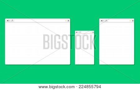 Set of browser windows for devices computer, tablet, and smartphone. Mockups for responsive web design. Vector illustration
