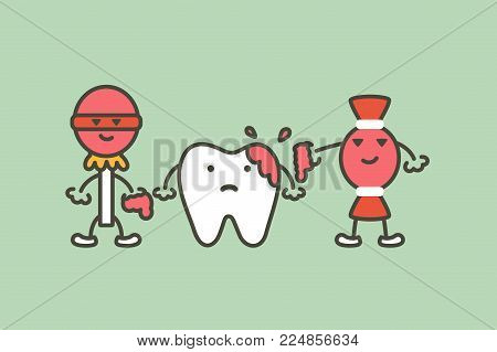 Teeth Are Smudged From Sweet, Decay Tooth Concept - Dental Cartoon Vector Flat Style Cute Character