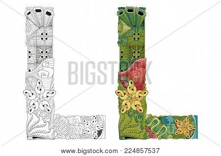Hand-painted art design. Letter L zentangle objects. Colored and outline set
