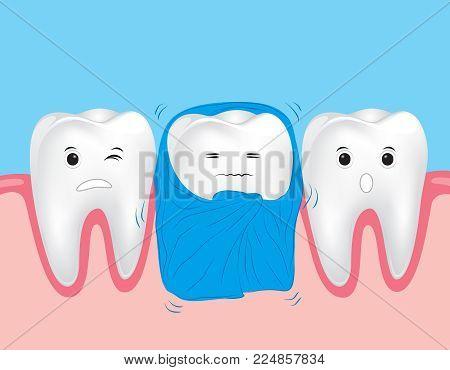 Sensitive teeth. Cute cartoon tooth with blanket.