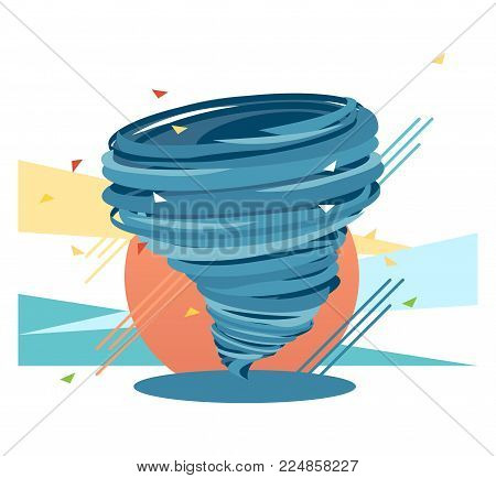 Crazy swirl hurricane, blue color flat illustration showing force, power and very dynamic and fast circumstances concept.