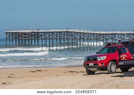 San Diego, California - April 21, 2017:  Lifeguard Rescue Vehicle On Pacific Beach, With The Crystal