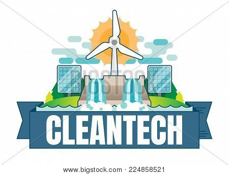 Cleantech concept vector badge illustration with hydroelectric dam, waterfall, wind turbine and solar panels.