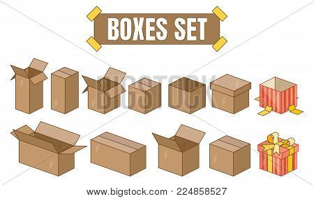 Cardboard boxes set with different sizes and positions including gift wrapping with a bow.