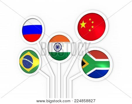 BRICS - association of five major emerging national economies members flags. Trade union. Global teamwork. 3D rendering