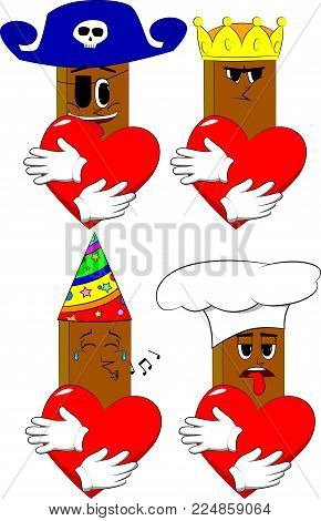 Books hugging big red heart. Cartoon book collection with costume faces. Expressions vector set.