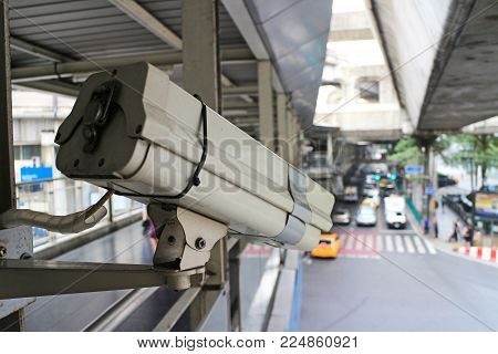 CCTV Camera for Traffic Monitoring installing on the sky walkway