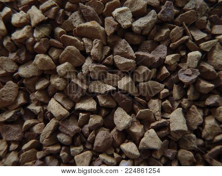 Close up of some brown coffee granules