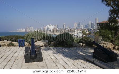 Panorama of the Tel Aviv embankment from the Yafo lookout platform