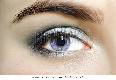 Violet mutation eyes , Close Up. The human eye of a woman with light beauty cosmetics and long natural eyelashes. Girl with perfect skin.