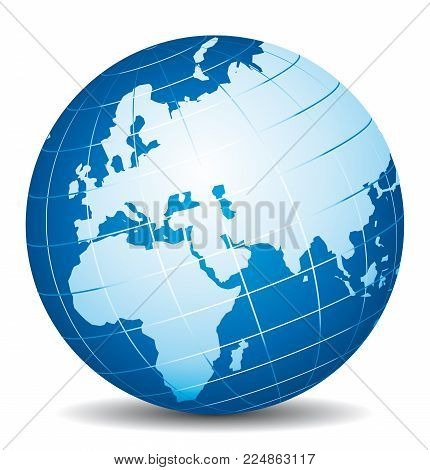 Beautiful 3d Vector Globe. Africa, Europe And Asia View.