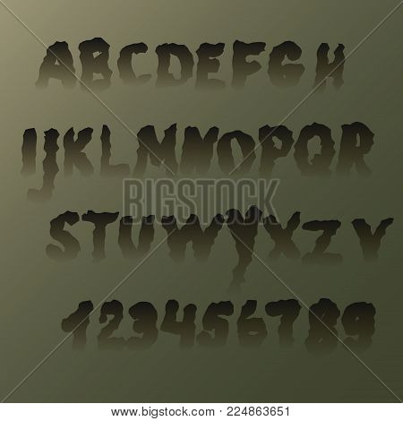 Set terrible trembling letters , transparent at the bottom. The alphabet and numbers, suitable for Halloween.