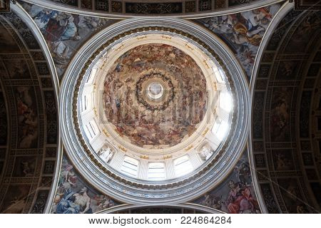 MANTUA, ITALY - JUNE 04: Frescoed dome of the basilica of Saint Andrew in Mantua, Italy on June 04, 2017.