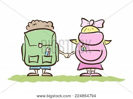 Vector illustration: Hand drawn Schoolboy and schoolgirl with bags isolated on the white background. View from the back. Line design.