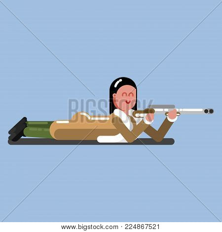Hunter girl lies on the flor and ready to shoot. Hunter isolated on color background. Hunters vector icon illustration.