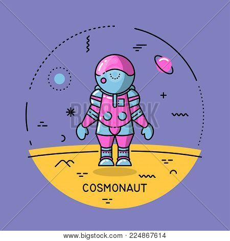 Vector flat line round colorful cosmic illustration. Cosmonaut on the Moon. For poster, website, manual.