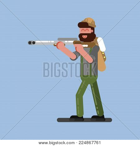 Hunter ready to shoot. Hunters isolated on color background. Hunters vector icon illustration.