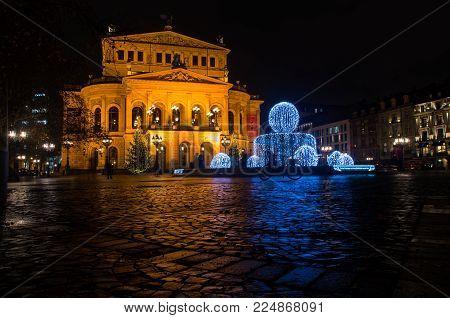 Frankfurt Am Main, Germany - 21 December 2017: Beautiful Alte Oper Building In Frankfurt Am Main, Ge