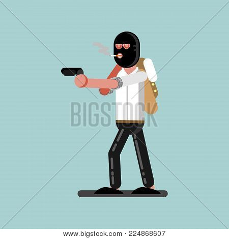 Robber in mask with gun is ready to shoot. Vector illustration, EPS 10