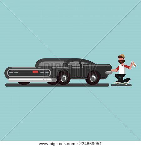 Skater clung to car. Vector illustration, EPS 10