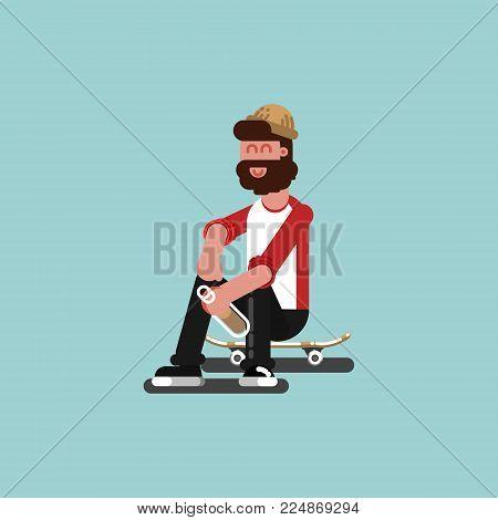 Skater siting on his board. Vector illustration EPS 10