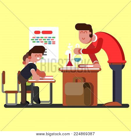 Two boys doing a chemical experiment in laboratory at school. Chemical classes