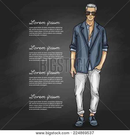 Vector man model dressed in jeans, shirt, linen jacket and sneakers on a dark background