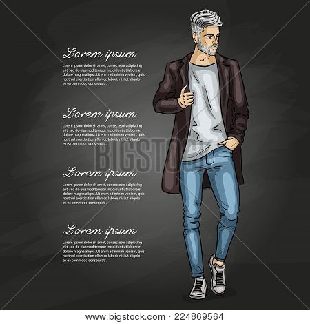 Vector man model dressed in jeans, t-shirt, sneakers and jacket on a dark background